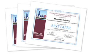 Image of XSEDE12 award certificates.
